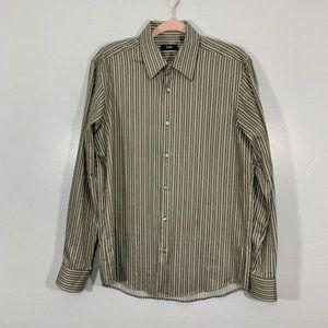 Vintage Boss Hugo Boss Gray Cream Striped Shirt